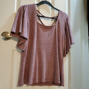 Maurices ribbed marled rose top sz M